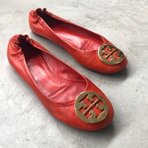 Tory Burch Reva Red Leather Flats Gold 6